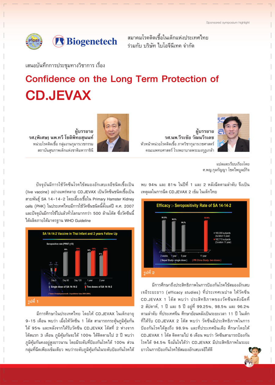 Confidence on the Long Term Protection of CD.JEVAX